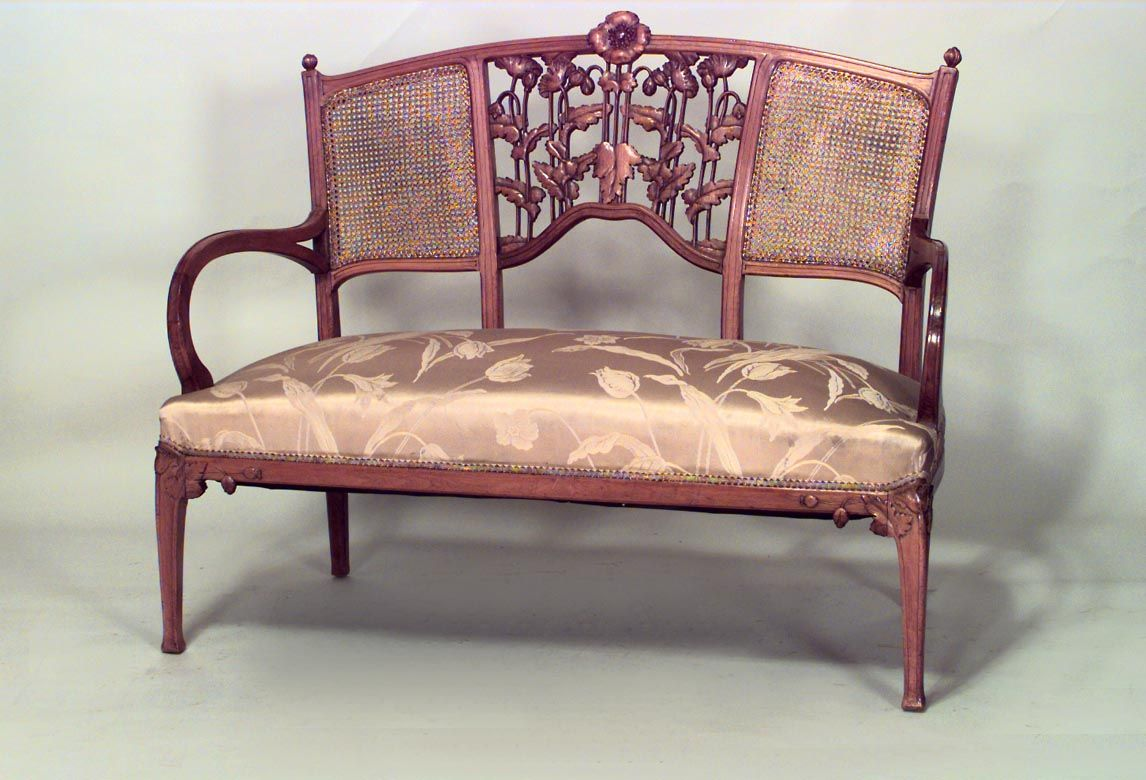 french art nouveau walnut living room set  walnut living