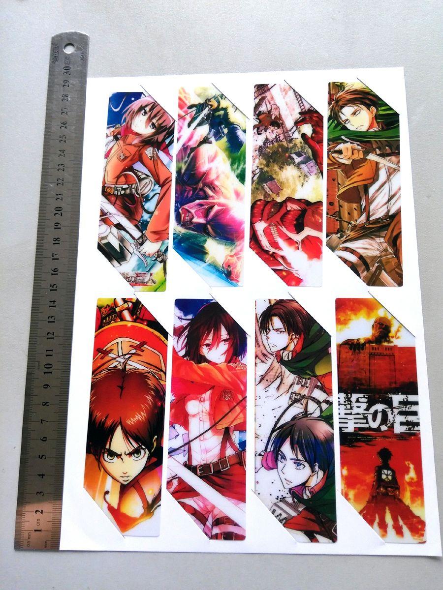 8pcsset pvc anime bookmarks printed with anime attack on titan mikasaerenlevi