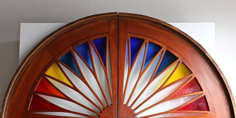 Monumental Stained Glass Sliding Doors Circa 1970 In 2020 Entry Doors With Glass Sliding Glass Door Window Stained