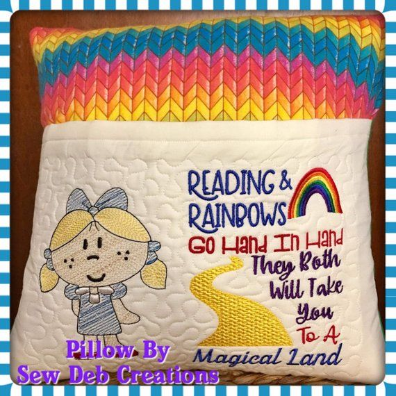 Reading & Rainbows Dorothy Embroidery Saying, Reading Pillow Saying, Pocket Pillow Subway Art, Machine Embroidery Design, INSTANT DOWNLOAD