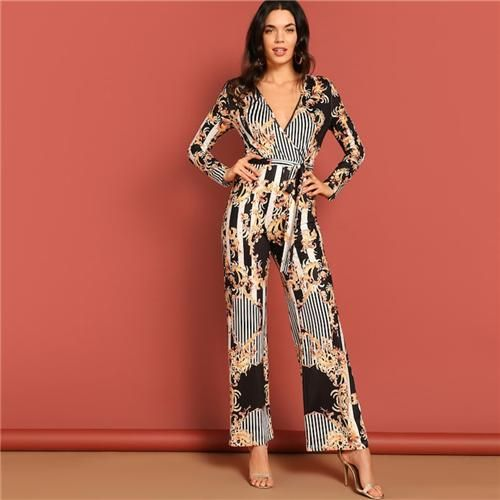3fa93078a257 Floral Striped Belted Romper in 2019