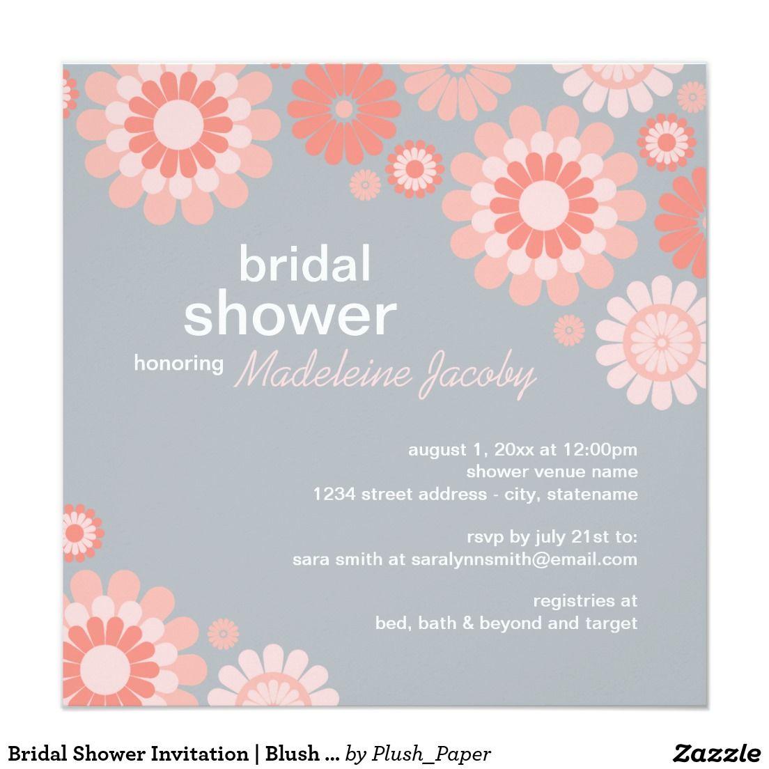 Bridal Shower Invitation | Blush Coral Pink Daisy | Pink daisy ...