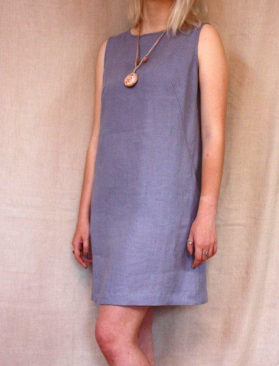 8ec021c13e Blue linen short dress with pockets, Grey blue summer dress, Flax  sleeveless dress, Flax sundress