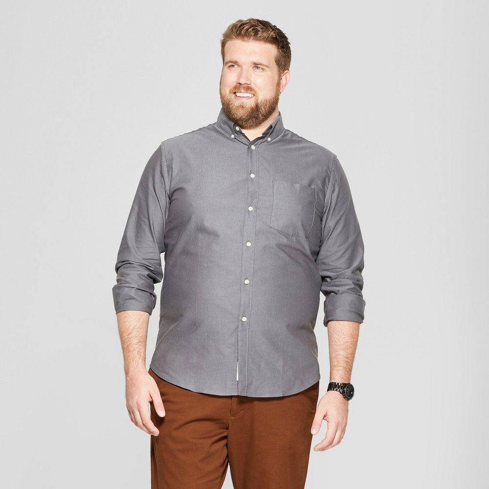Men/'s Big /& Tall Whittier Oxford Long Sleeve Collared Shirt 5XB Berry Cobbler