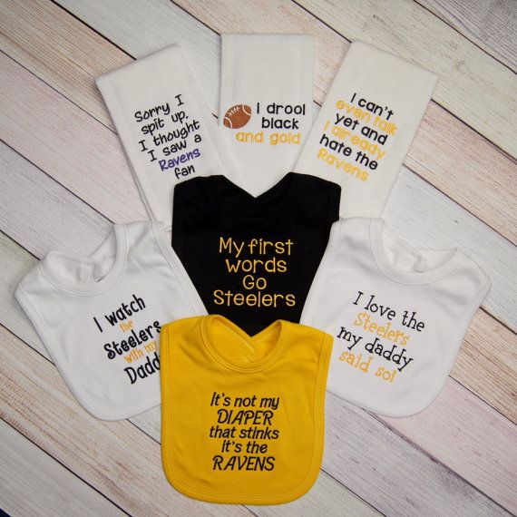 152900cee8e The Ultimate Pittsburgh Steelers Fan Funny Baby Gift Set 4 Bibs and 3 Burp  Cloth Fathers Dad Gift
