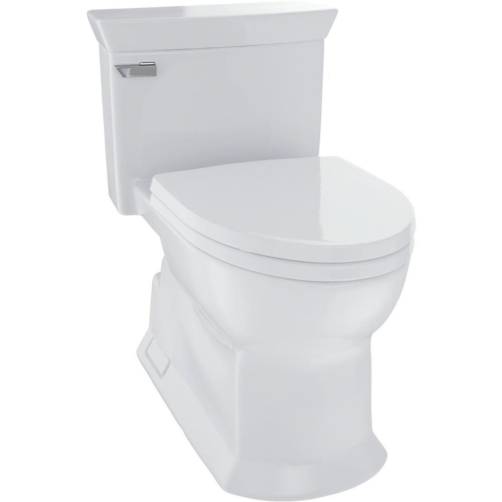 Toto Eco Soiree 1 Piece 1 28 Gpf Single Flush Elongated Skirted Toilet With Cefiontect In Cotton White In 2019 Ada Toilet Toto Toilet Toilet