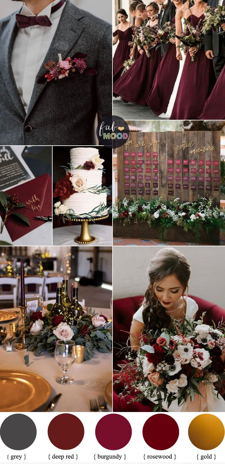 Deep Red + Burgundy and grey with a touch of gold For Fall Wedding