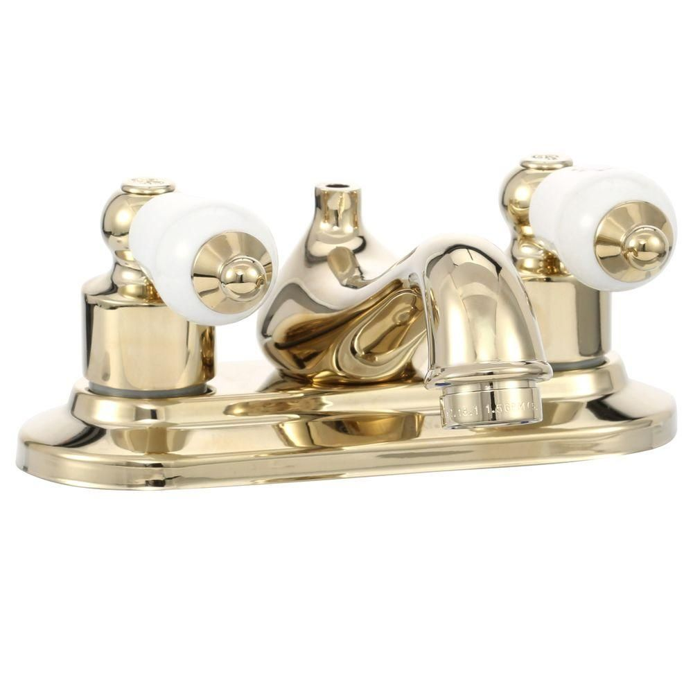 Glacier Bay Teapot 4 in. Centerset 2-Handle Low Arc Bathroom Faucet ...