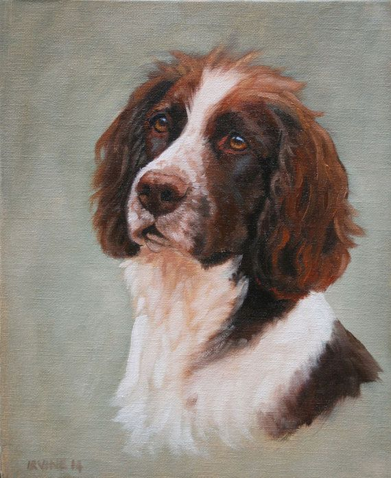 Springer Spaniel Dog Small Original Oil Painting On By