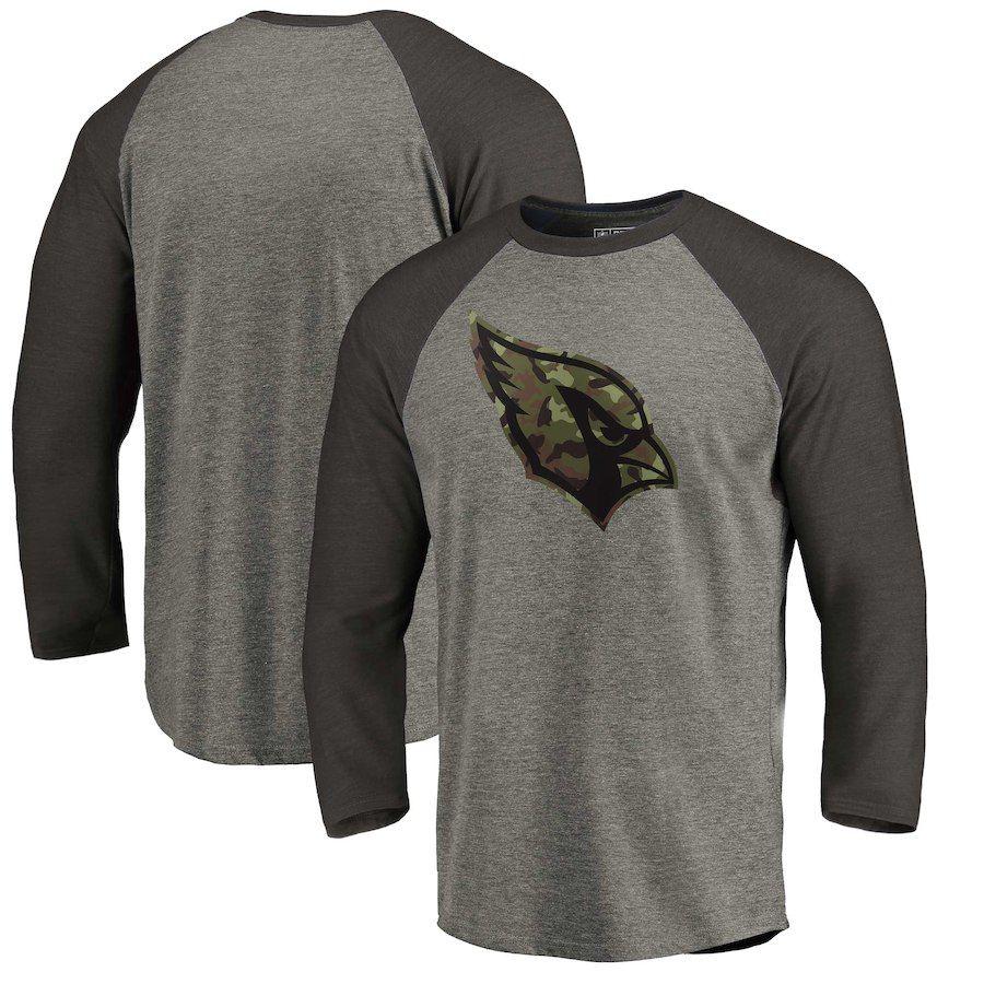 Men s Arizona Cardinals NFL Pro Line by Fanatics Branded Heathered  Gray Black Camo Prestige Raglan Tri-Blend 3 4-Sleeve T-Shirt cb90110d4