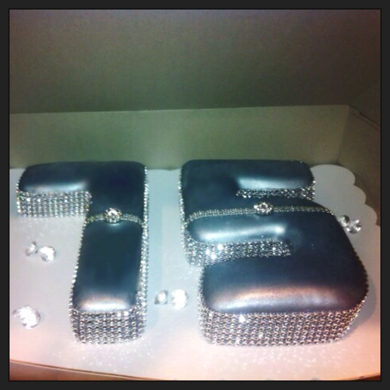 Blingy diamond rhinestone fondant cake numbers for a 75th birthday