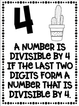 Divisibility Rules Posters Cactus Theme ~Black & White