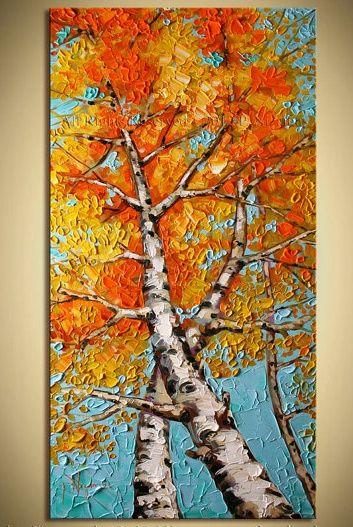 10 Wonderful Fall Theme Paintings Tree Art Autumn Art Canvas Painting