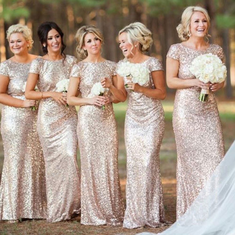 Mermaid gold lace bridesmaid dresses with short sleeveslong