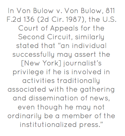 """Continuing issue of Press vs. NYPD.""""In Von Bulow v. Von Bulow, 811 F.2d 136 (2d..."""""""