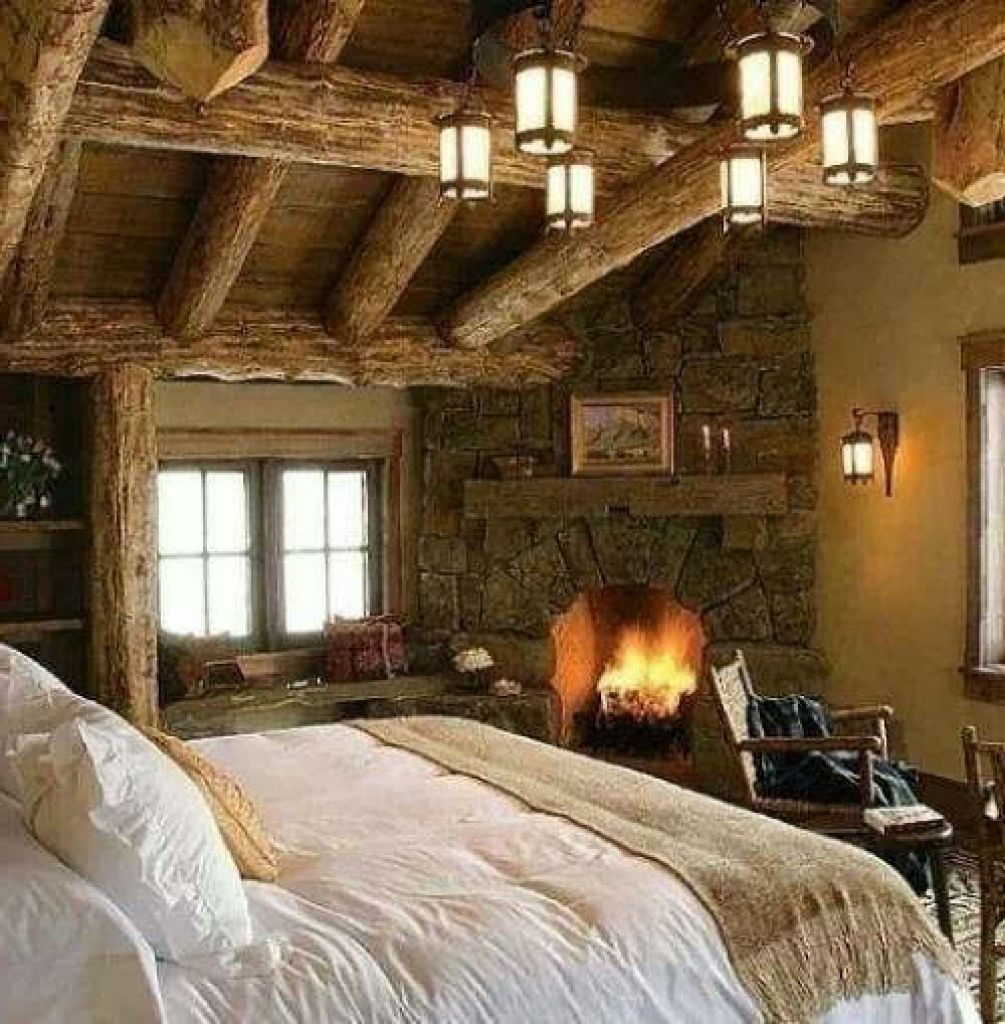 19 Log Cabin Home Décor Ideas: Log Cabin Master Bedroom Ideas