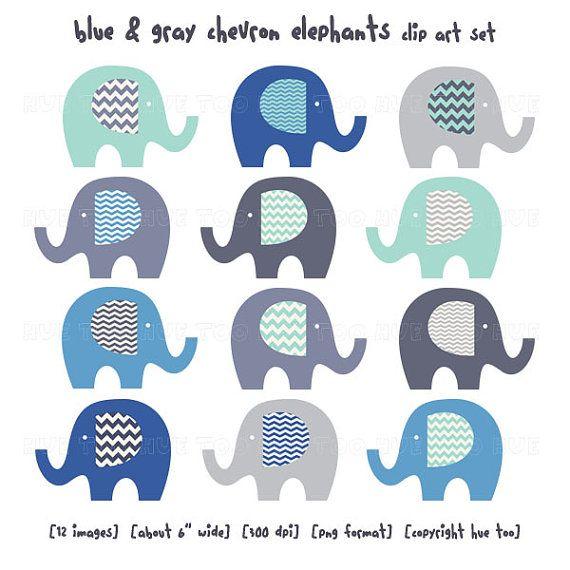 elephants clip art chevron elephant clipart gray blue by huetoo ...