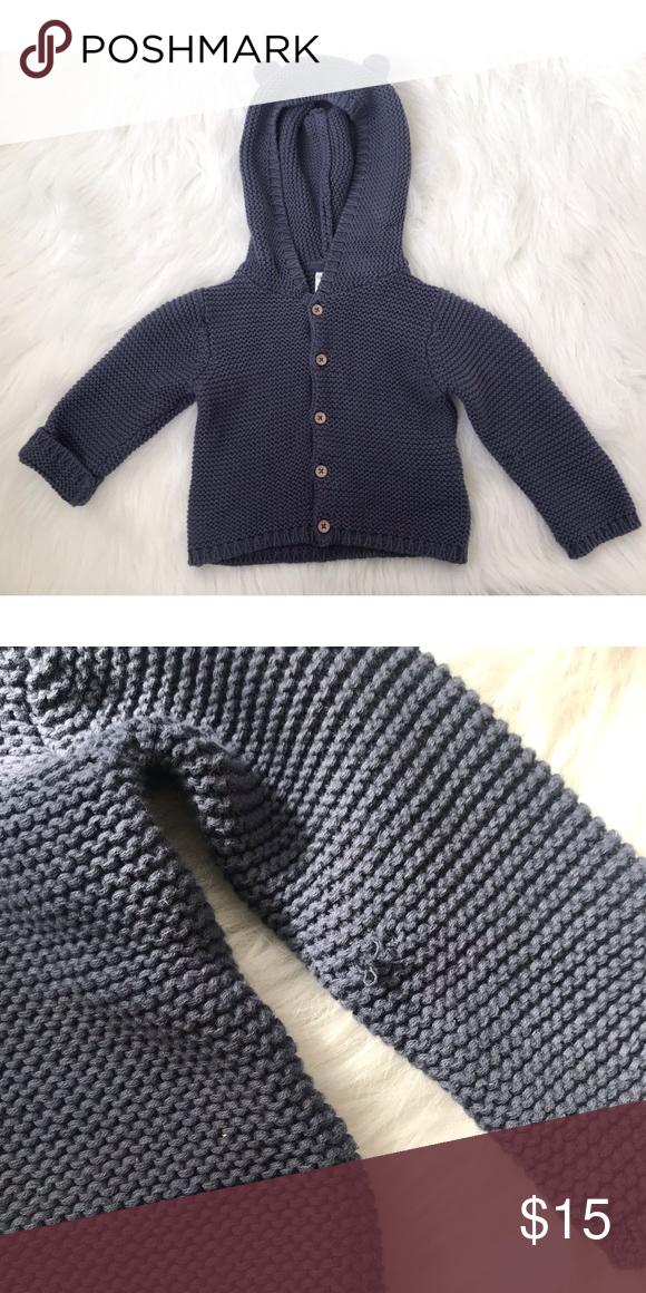 318de650c784 Knit Bear Hoodie Navy  slate blue knitted cardigan. Hood with tiny ...