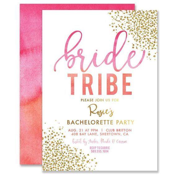 Bachelorette Party Invitation Pink Orange Ombre Gold Bachelorette Party Invitations Bachelorette Invitations Bridal Shower Invitations