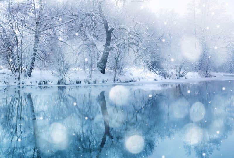 Winter Scenery Abstrakt Landskap Vinter