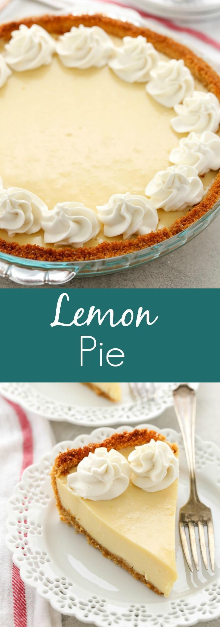 Here is an easy Lemon Pie for all of you lemon lovers out there! This Lemon Pie features an easy homemade graham cracker crust, a creamy lemon filling, and homemade whipped cream on top. This is the perfect, easy dessert for lemon lovers! #lemon #pie #recipes #homemade #easyrecipe #dessert #livewellbakeoften #lemon pies Lemon Pie