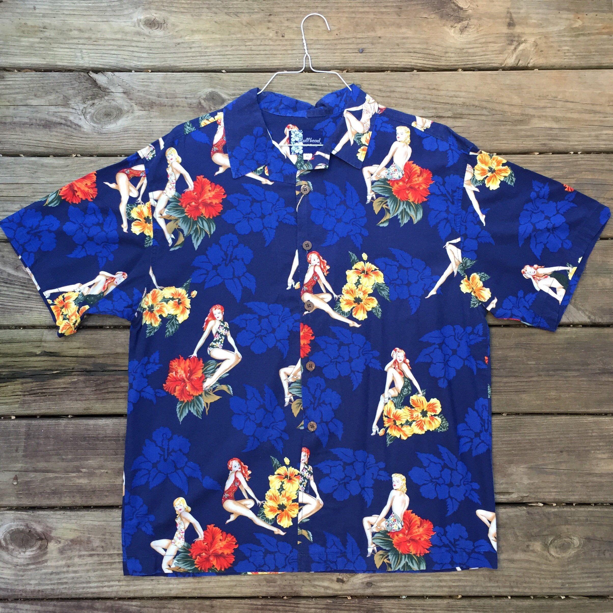 Bullhead Island Series Vintage Dark Green Orange Flowers Men's Hawaiian Shirt. Size L 3pkipiB6M5