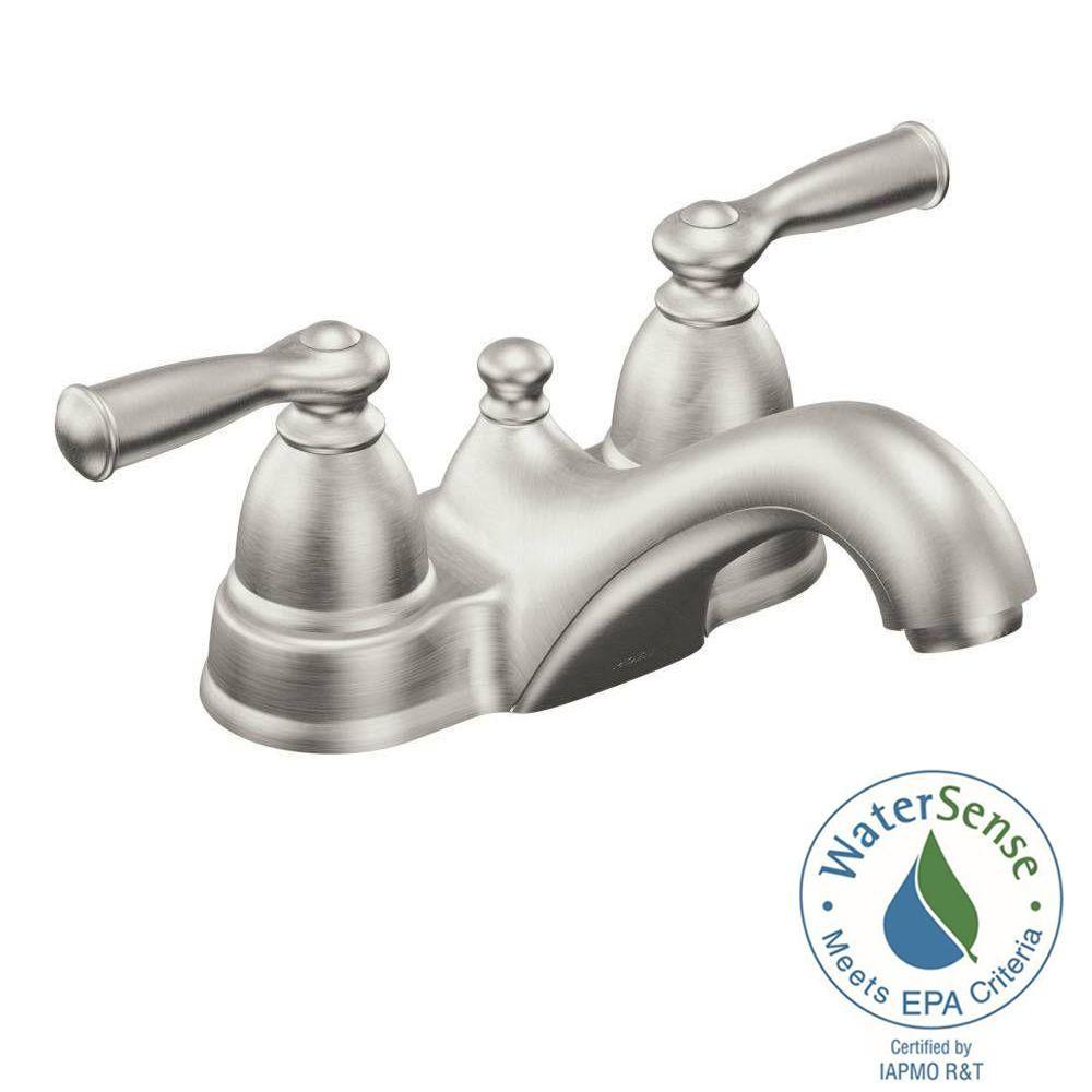 Photo of MOEN Banbury 4 in. Centerset 2-handle low-arc bathroom tap in spot resist brushed nickel-WS84912SRN – The Home Depot