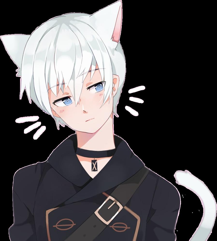 freetoeditnekoboy neko cat anime manga boy kawaii