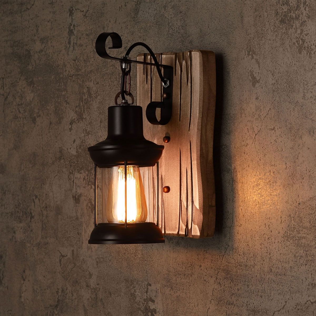 Industrial Cottage Style Metal Clear Glass Lantern 1 Light Wall Light Wood Backplate Rustic Wall Lighting Glass Lantern Wall Lights