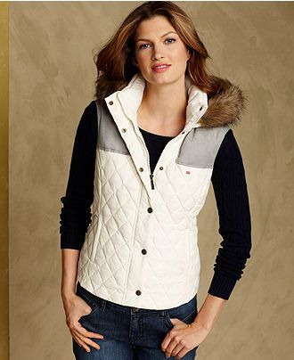 Tommy Hilfiger Vest, Sleeveless Quilted Puffer - Womens Jackets ... : tommy hilfiger quilted vest - Adamdwight.com