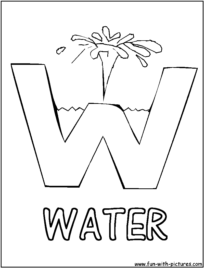 W Is For Water Picture Alphabets W Coloring Page Water Unit