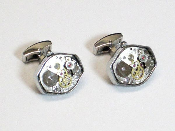 SILVER SS OVAL WATCH MOVEMANT CUFFLINKS $ 39.95