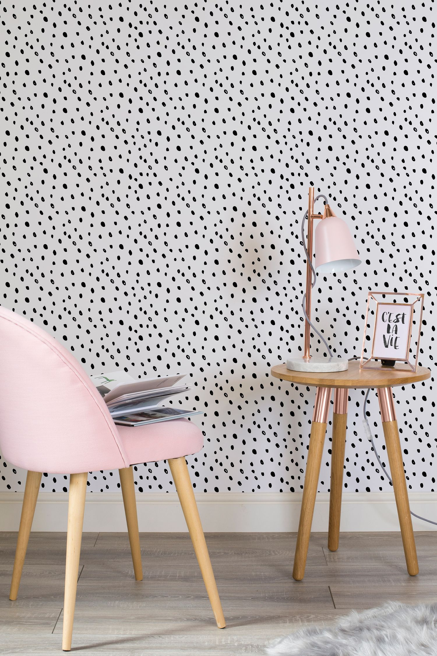 black and white wallpaper ideas for living room decorating with dark grey sofa spotty speckle wall mural home reno pinterest this design is both girly chic working wonderfully in modern spaces as well offices