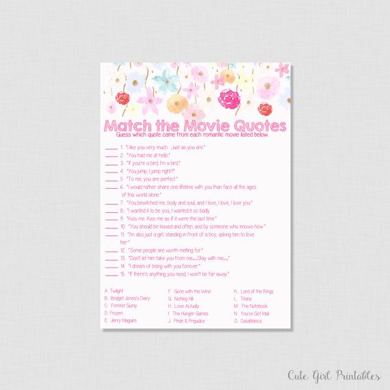 Floral Movie Love Quote Match Game - Printable Bridal Shower Movie Quote Game - DIY Bridal Shower - Fuchsia Pink Flower Matching - 0005W