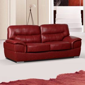 Amazing Cranberry Red Leather Sofa