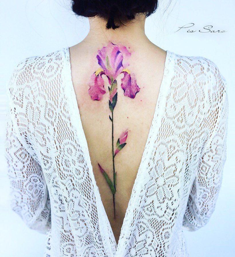 28 4k Likes 232 Comments Pis Saro Pissaro Tattoo On Instagram Iris Flower Shop Artfulinkbali Iris Tattoo Flower Spine Tattoos Purple Tattoos