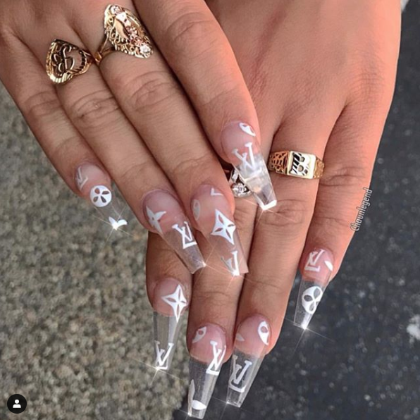 Drippin In Lv Boss Bae Beehturner Giving Us Major Nail Inspo Gettin Ya Nails Done Ain T Che Long Acrylic Nails Coffin Nails Designs Clear Acrylic Nails