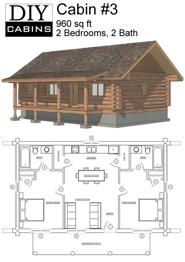 Cabin 3 Log Cabin Floor Plans House Plans Small House Plans