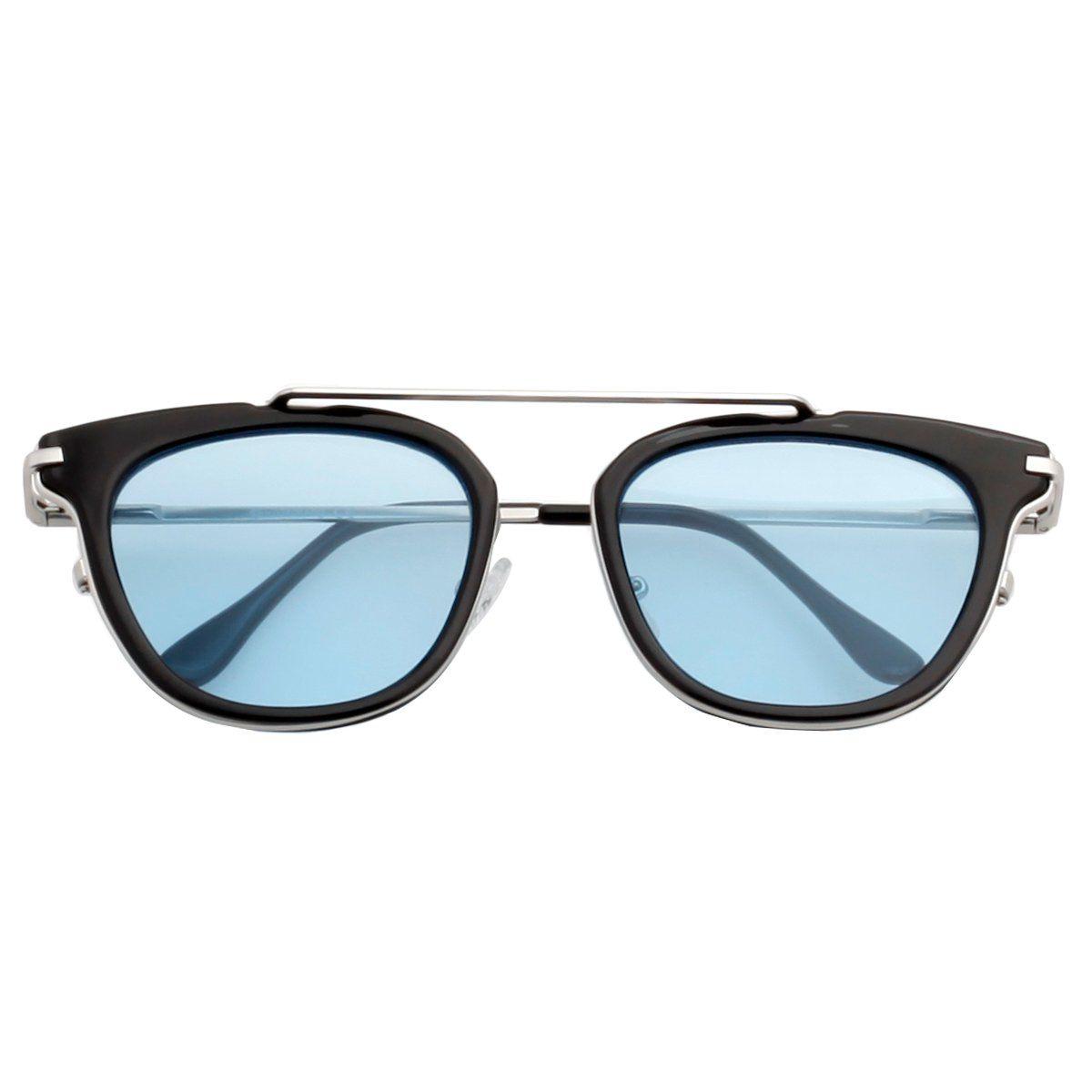 9f92c6849b VIVIENFANG Flat Tinted Lens Sunglasses Korean Fashion Square Shades For  Unisex 87066A Blue