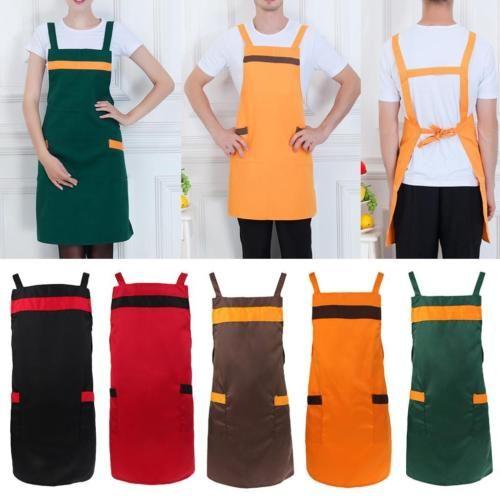 Homens Mulheres culinária bib restaurante cozinha uniformes Denim Vestido De Avental Com Bolso