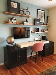 Notice the tv under the shelves #office #decor #design #interior #model #better #decoration #lighting #workingplace #wallshelves #ModernHomeDecorEntrance