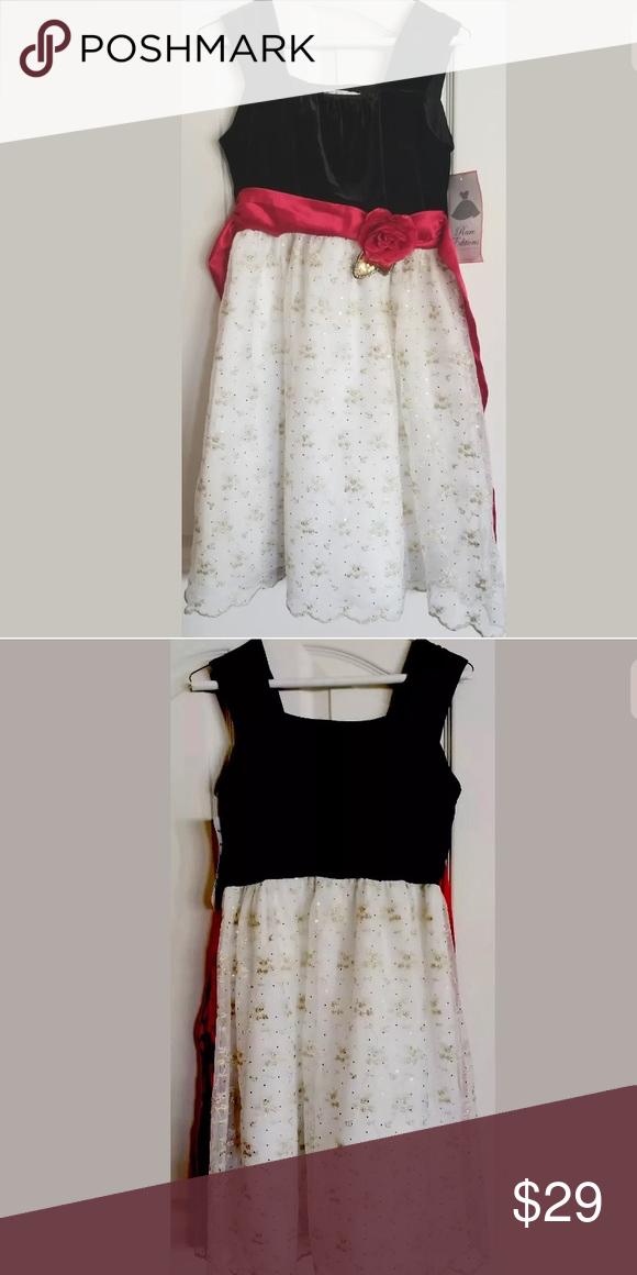 514ad9927b Rare Editions Girls Size 16 Blk, Wht & Red Dress Beautiful Sleeveless Girls  Party Dress
