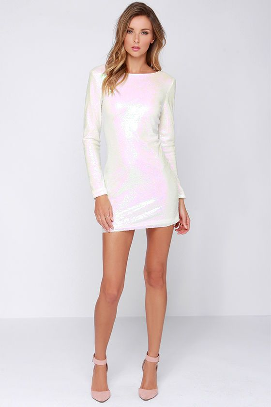 9a256816 Glamorous Snow Glow White Iridescent Sequin Dress in 2019 | Dresses ...