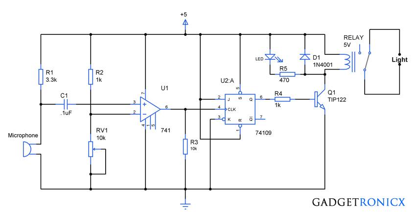 Clap Activated Light Circuit Gadgetronicx Circuit Design Circuit Electronics Circuit