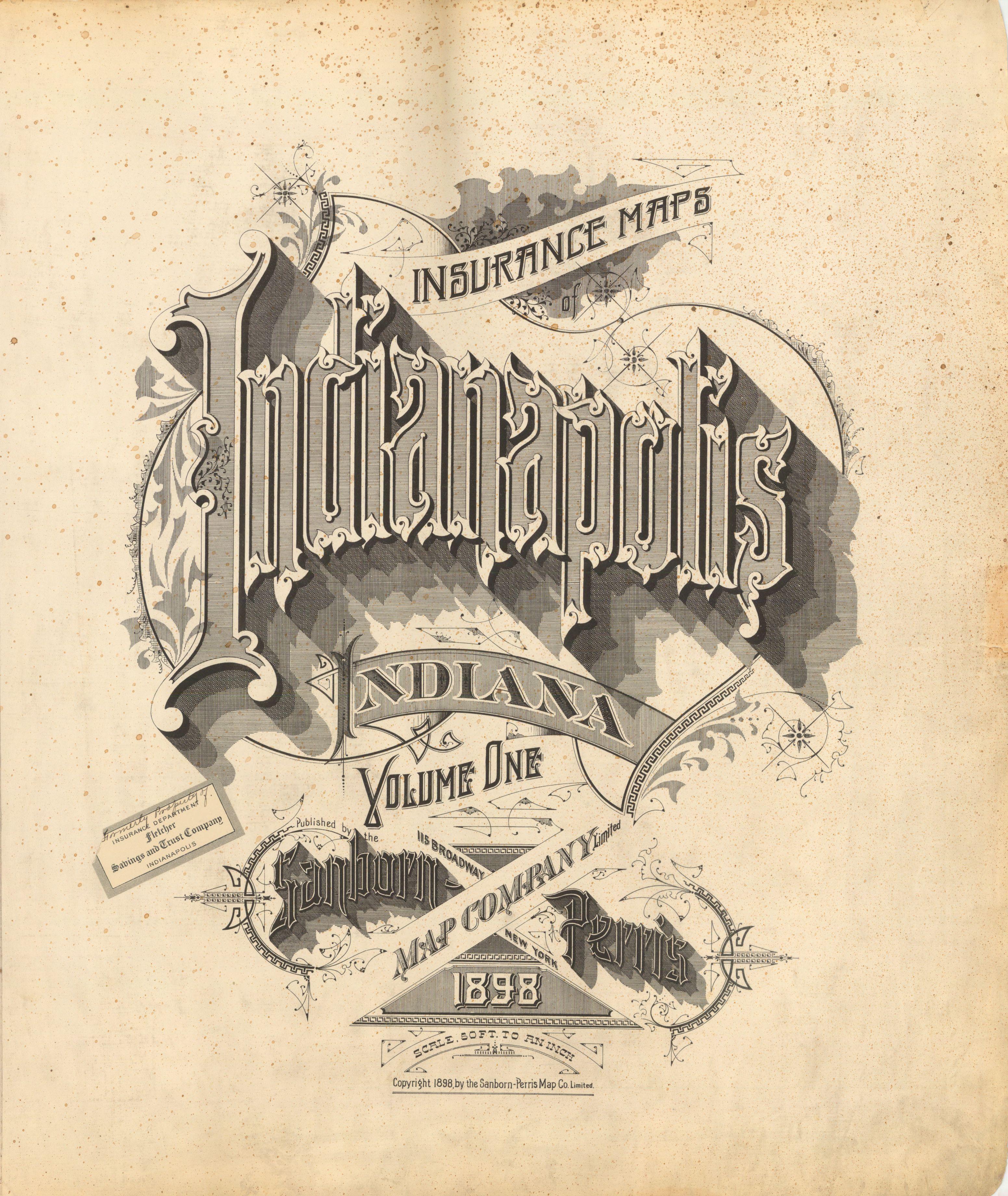 Sanborn Insurance map Indiana INDIANAPOLIS 1898