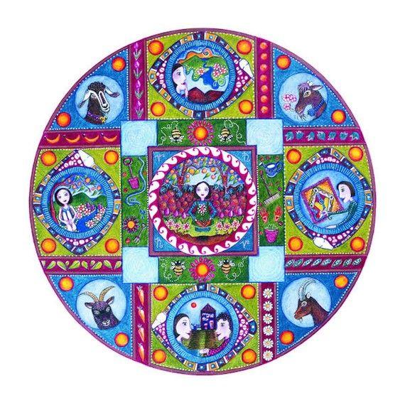 Capricorn Astrology Mandala Print Zodiac Art January Birthday Etsy Zodiac Art Mandala Art Mandala Print
