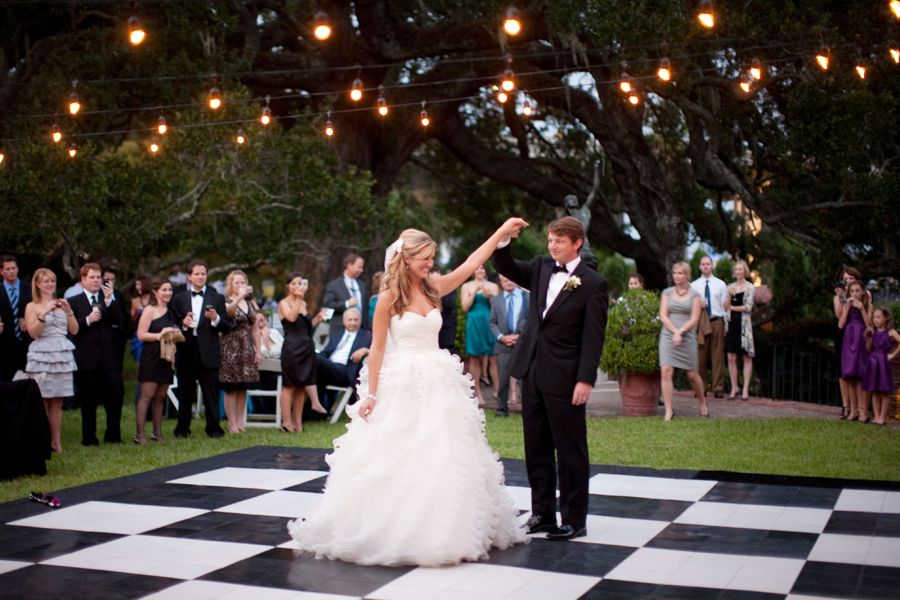 Reception Decor A Black And White Dance Floor Transforms Backyard Into An Elegant Glamorous Location For Wedding