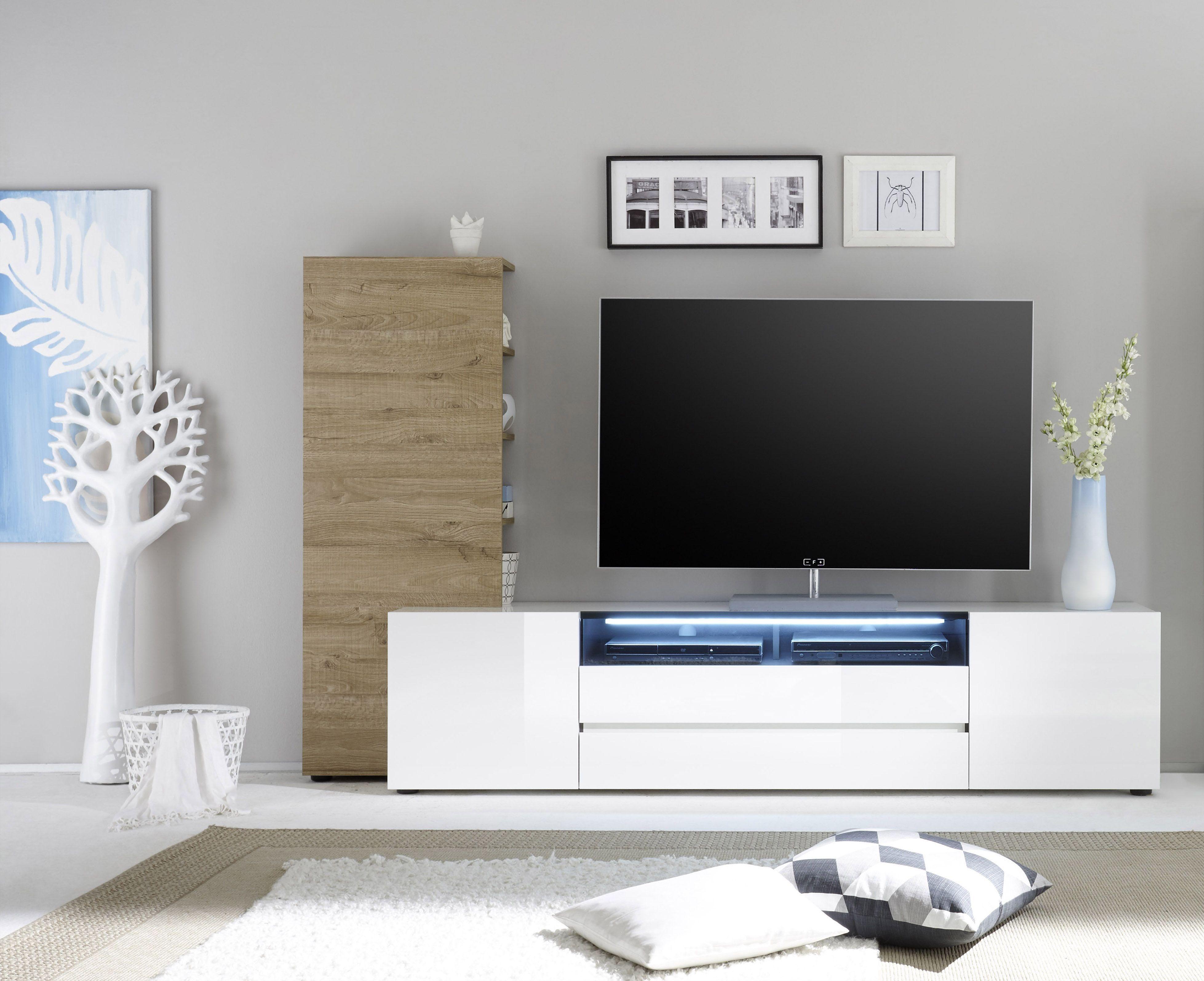 Tv Lowboard Mit Regal Weiss Hochglanz/ Eiche Natur Woody