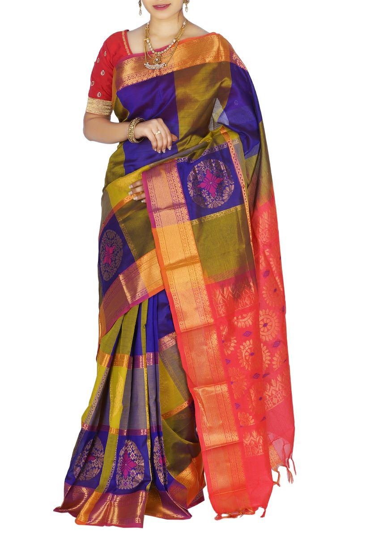 1b5976a185e435 Dark blue and olive green kuppadam sarees   kuppadam sarees at ...