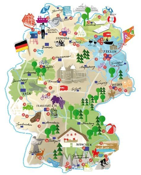a more interactive and creative map of germany and common places and culture in it